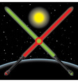 lightsabres in space vector image vector image