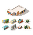 mall exterior designs isometric 3d vector image