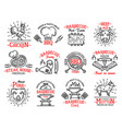 meat products icons signs steaks on barbeque grill vector image