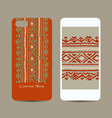 mobile phone cover design folk ornament vector image vector image
