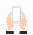 modern smartphone with hand on white vector image vector image