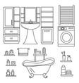 outline set of bathroom furniture vector image vector image