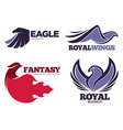 phoenix bird or fantasy eagle logo templates set vector image vector image
