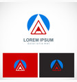 round triangle letter a company logo vector image