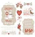 set christmas lettering and graphic elements vector image vector image