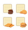 set stickers with cartoon cookies vector image vector image