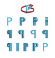 sheet of sprites rotation of cartoon 3d letter p vector image vector image