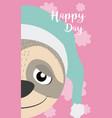 sloth cute animal cartoon card vector image vector image