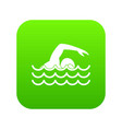 swimmer icon digital green vector image vector image