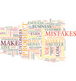 ten entrepreneurial mistakes text background word vector image vector image