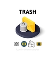 Trash icon in different style vector image vector image