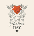 valentine card or banner with angels and heart vector image vector image