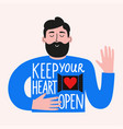 with bearded man and lettering phrase keep your vector image vector image