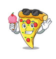 with ice cream pizza slice character cartoon vector image vector image