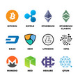 cryptocurrency bitcoin litecoin ethereum vector image