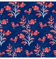 Retro floral background with flowers and birds vector image