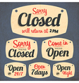 172Retro Vintage Open Closed Sign Collection vector image