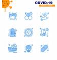 9 blue set corona virus epidemic icons vector image vector image