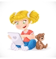 Beautiful little girl sitting on the floor with a vector image vector image