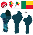 Benin map with named divisions vector image vector image