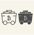 bitcoin mining cart line and glyph icon crypto vector image
