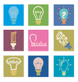 bulb idea icons set vector image
