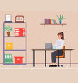 business employees on their workspace co-worker vector image vector image