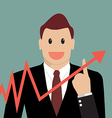 Businessman pointing at growth graph vector image