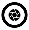 camera lens shutter icon black color in circle vector image