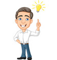 cartoon businessman with idea bulb vector image