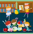 children reading books in classroom vector image