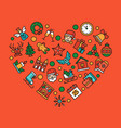 christmas accessories in heart shape linear vector image