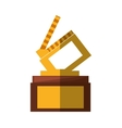 clapper movie trophy awards shadow vector image