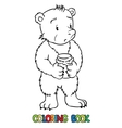 Coloring book of lttle funny bear vector image