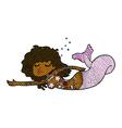 comic cartoon mermaid with tattoos vector image vector image