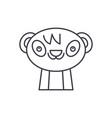 cute panda line icon concept cute panda vector image vector image