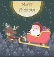 cute reindeer pulling sleigh with santa vector image