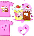 cute shirt with funny cake vector image vector image