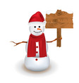cute snowman holding wooden sign vector image