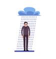 depressed businessman standing in rain under a vector image