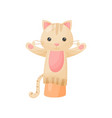 doll cat on hand on white background vector image