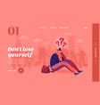 female character lost in crowd landing page vector image vector image