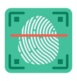 fingerprint scanner flat icon id and security vector image