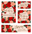 floral greeting card for happy mother day design vector image