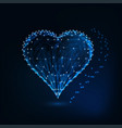 glowing heart symbol made of stars lines points vector image vector image