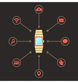 golden smart watches with social media icons vector image vector image