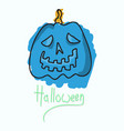 halloween pumpkin with face on dark background vector image vector image