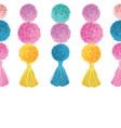 happy colorful birthday party pom poms and vector image vector image
