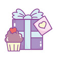 happy valentines day gift box and sweet cupcake vector image