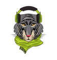 hipster tiger cool sketch vector image vector image